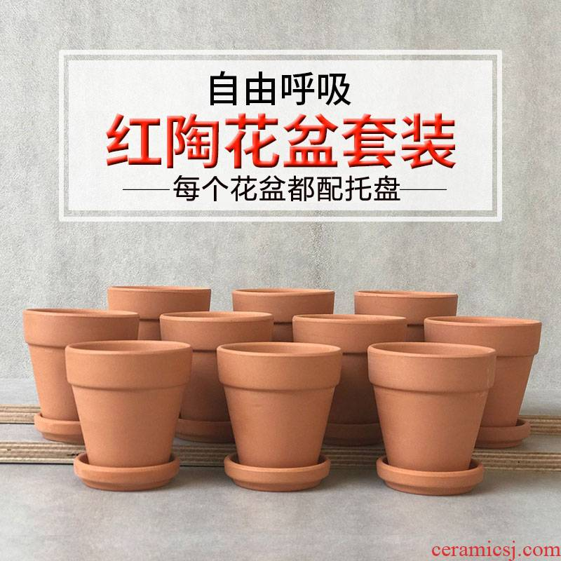 Red clay POTS with tray was Red clay ceramic basin is made of baked clay contracted fleshy flower pot clay flowerpot pack mail