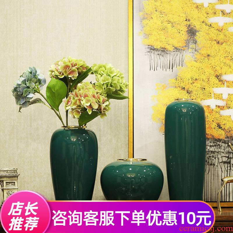 Light European - style key-2 luxury furnishing articles ceramic vases, new Chinese style living room TV cabinet dry flower flower arranging flower implement modern porch decoration