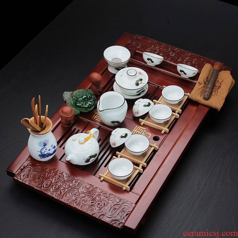Old &, your up ceramic tea set household solid wood tea tray teapot teacup of a complete set of large drainage in xiangyun