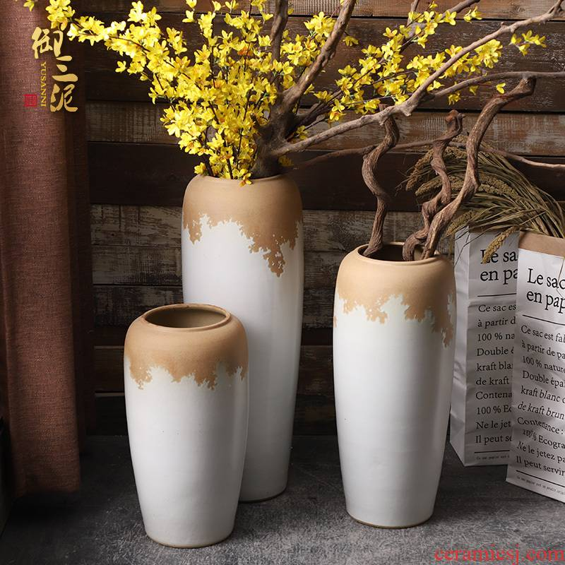Boreal Europe style floor vase furnishing articles ceramic sitting room of I and contracted flower arranging Chinese style restoring ancient ways simulation flower vase