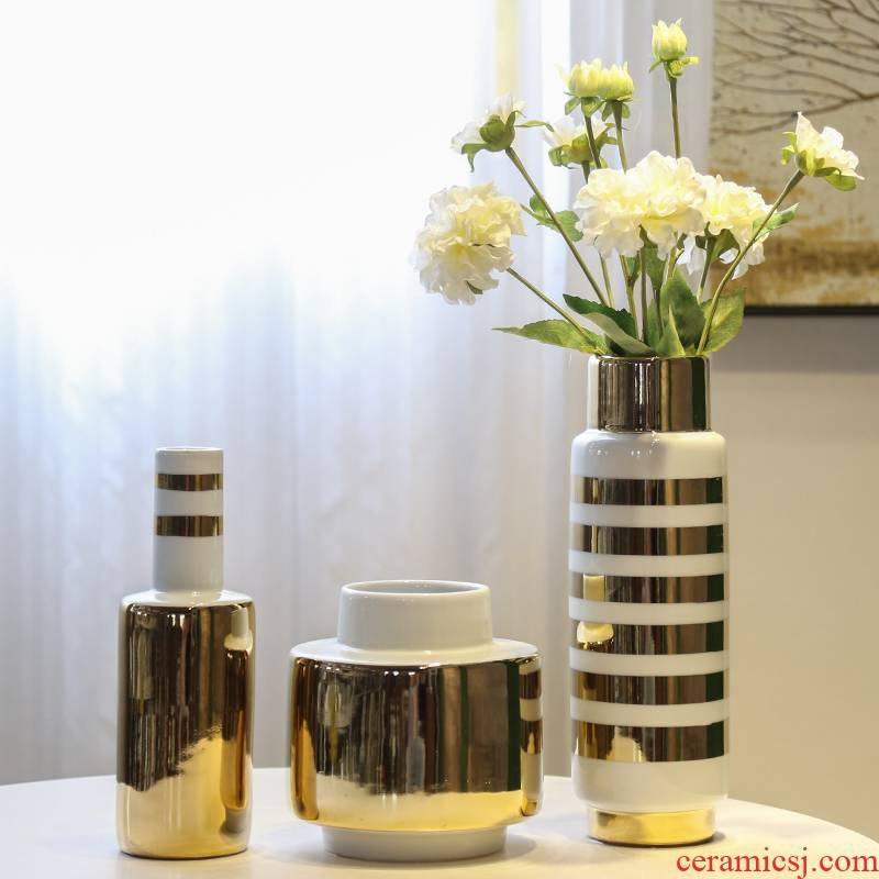 Jingdezhen modern light mesa of key-2 luxury decoration vase hotel new Chinese style flower between example simulation flower decoration
