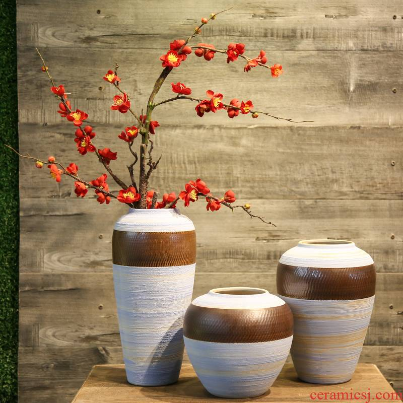 Jingdezhen coarse pottery vase retro mesa between TV cabinet ceramic flowers in the sitting room porch example simulation flower decoration