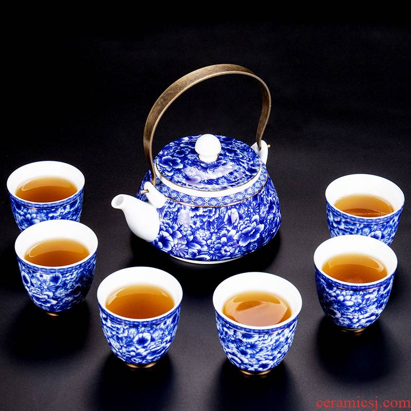 Jane 's quality, and the home of kung fu tea set girder of blue and white porcelain pot of sitting room is contracted ceramic teapot tea cup set