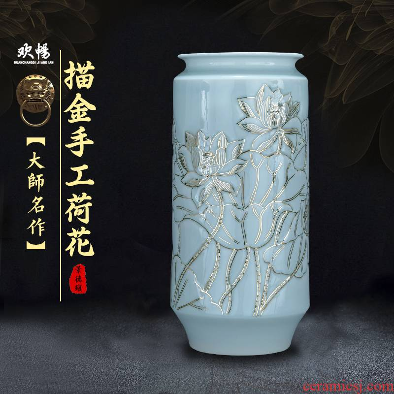 Jingdezhen chinaware paint vases, antique Chinese style living room decoration flower arranging household handicraft furnishing articles gifts