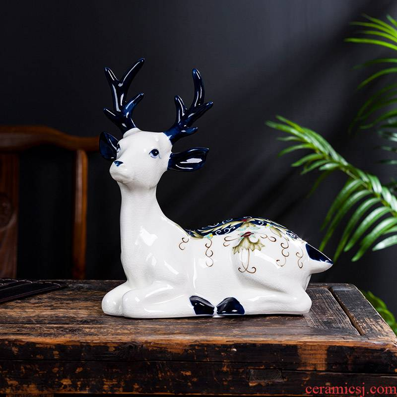 White porcelain of jingdezhen ceramics sika deer furnishing articles of Chinese style household act the role ofing is tasted the sitting room decorate the study creative decoration