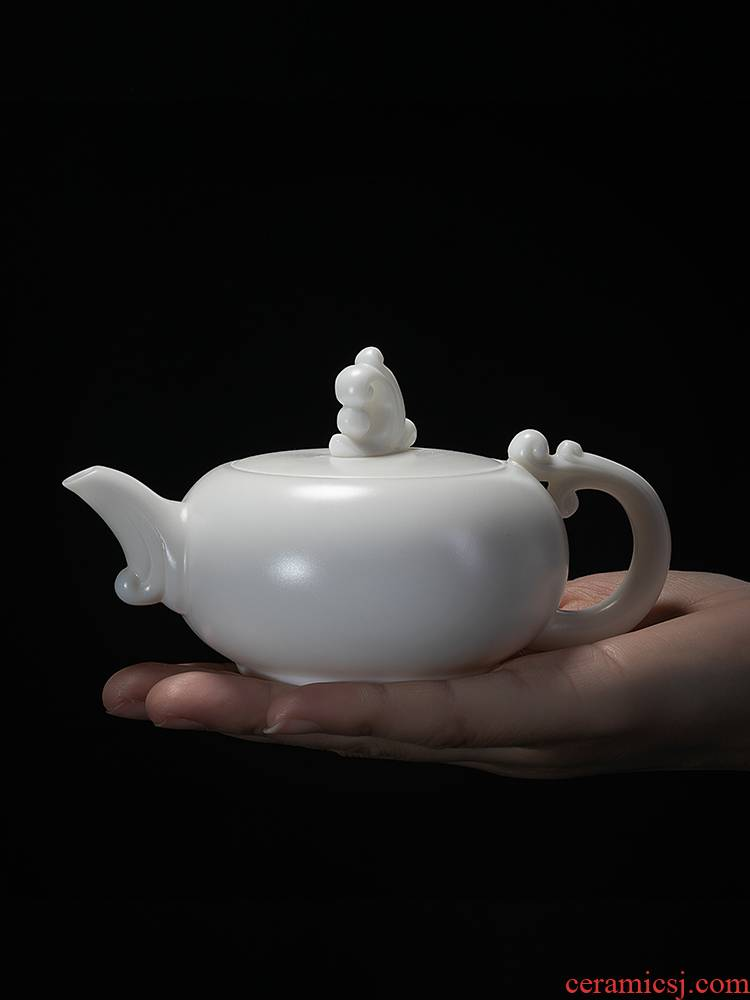 Jiangnan past dehua suet white porcelain teapot Chinese white jade teapot ceramic kung fu tea set xiangyun pot by hand