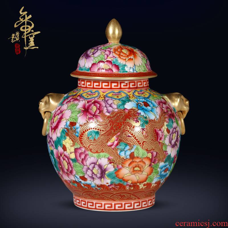 The Qing qianlong hand - made antique trace golden lion ear tank dragon wear a flower is Chinese style porch place jingdezhen porcelain ceramic vase