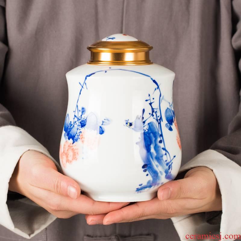 Jingdezhen ceramic tea household decorative furnishing articles caddy fixings general storage sealed as cans ceramic jar