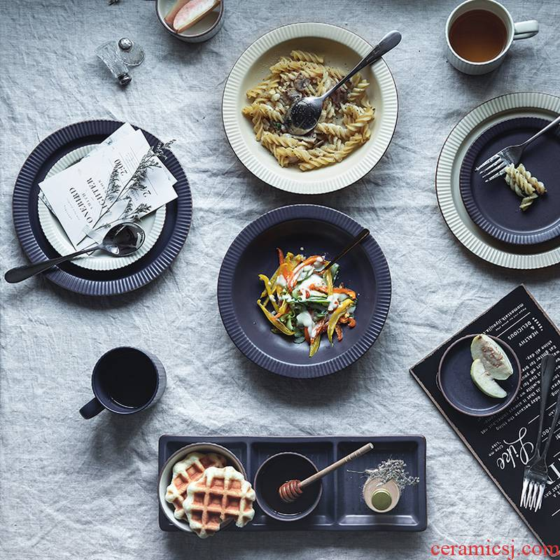 Lototo Japanese ceramics tableware dinner plate restoring ancient ways of household rainbow such as bowl dish salad bowl dish dish creative dishes