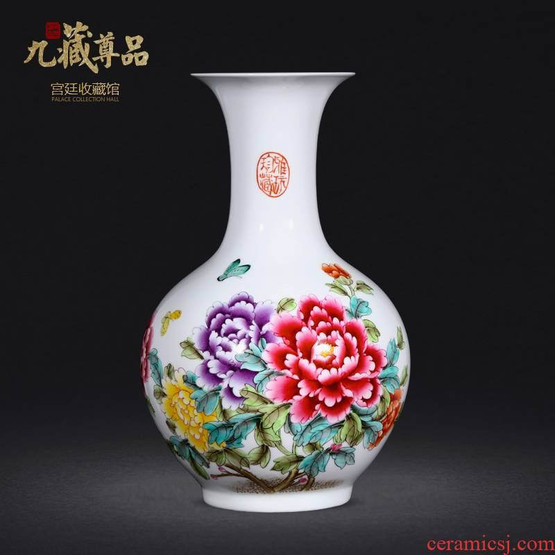 Jingdezhen ceramics vase hand - made famille rose blooming flowers of the reward bottle of home sitting room collect adornment