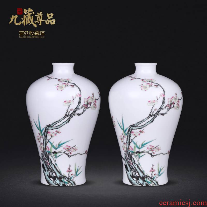 Jingdezhen ceramics imitation the qing qianlong hand - made long bamboo name plum flower name plum bottle decoration handicraft furnishing articles collection