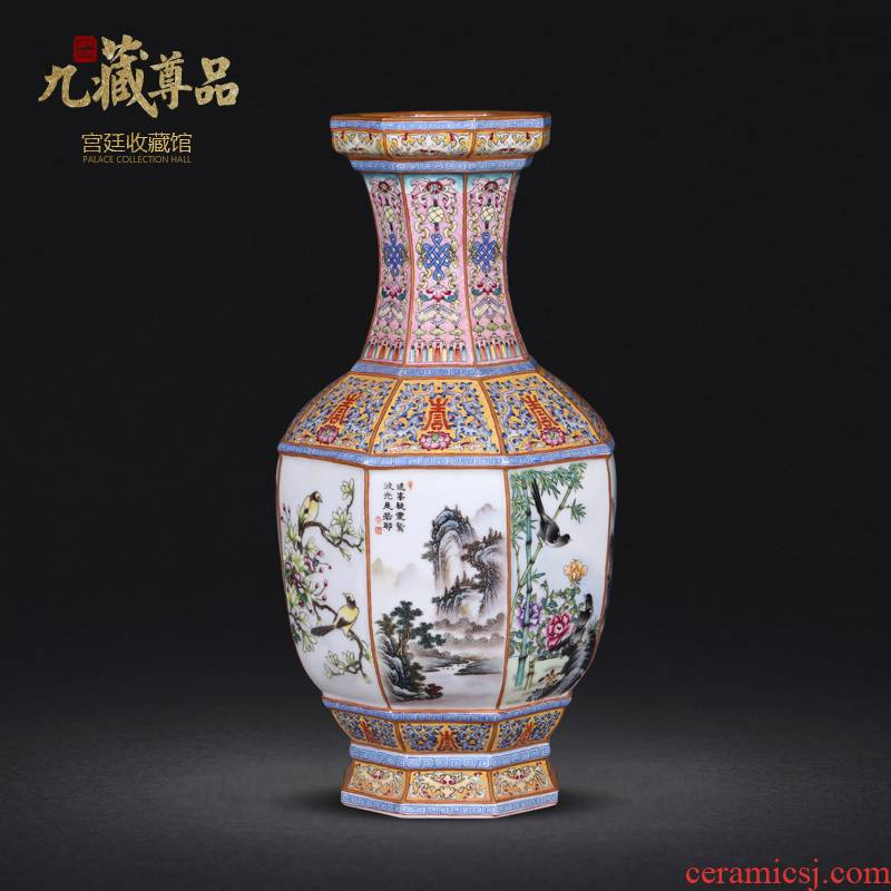Jingdezhen ceramics imitation the qing qianlong pastel bamian mountain water painting of flowers and many square vase sitting room adornment is placed