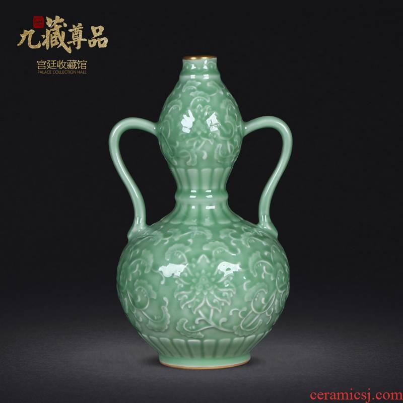 Jingdezhen ceramics archaize paint blue glaze carving ears bottle gourd sitting room home furnishing articles
