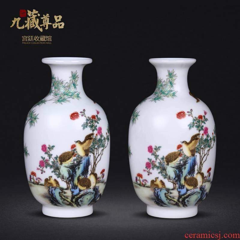 Jingdezhen ceramics imitation the qing qianlong colored enamel ten bamboo treasure peace sitting room adornment handicraft furnishing articles collection