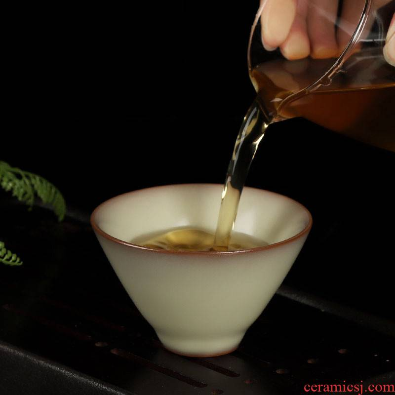 Poly real scene celadon teacup single cup Wang Wenge up red tire hand crack from lard sample tea cup cold ceramic tea cup ice