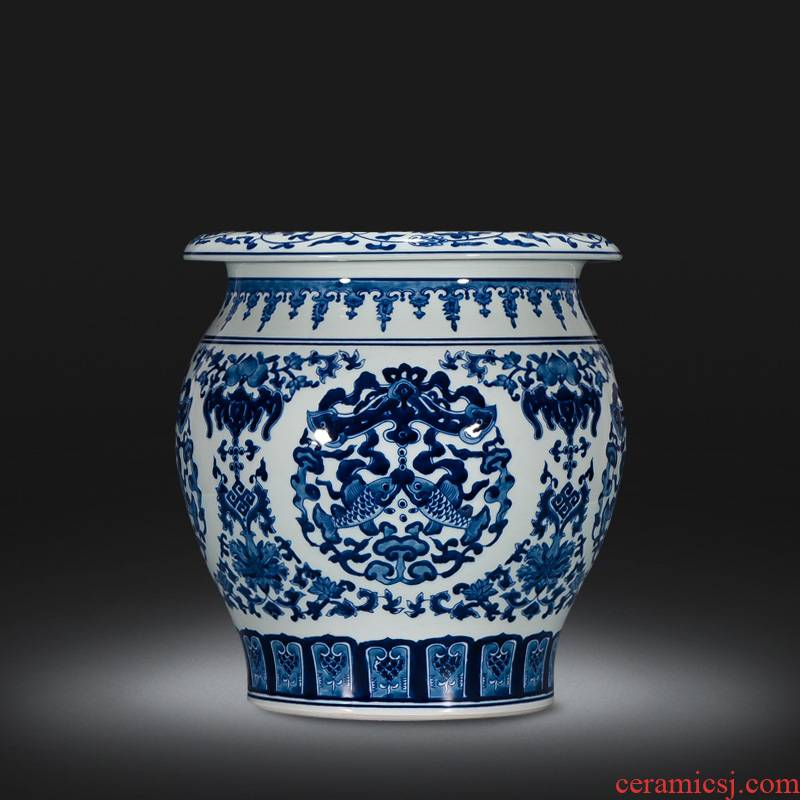 Jingdezhen ceramics by hand draw Chinese blue and white porcelain vase sitting room adornment is placed on the calligraphy and painting scroll cylinder