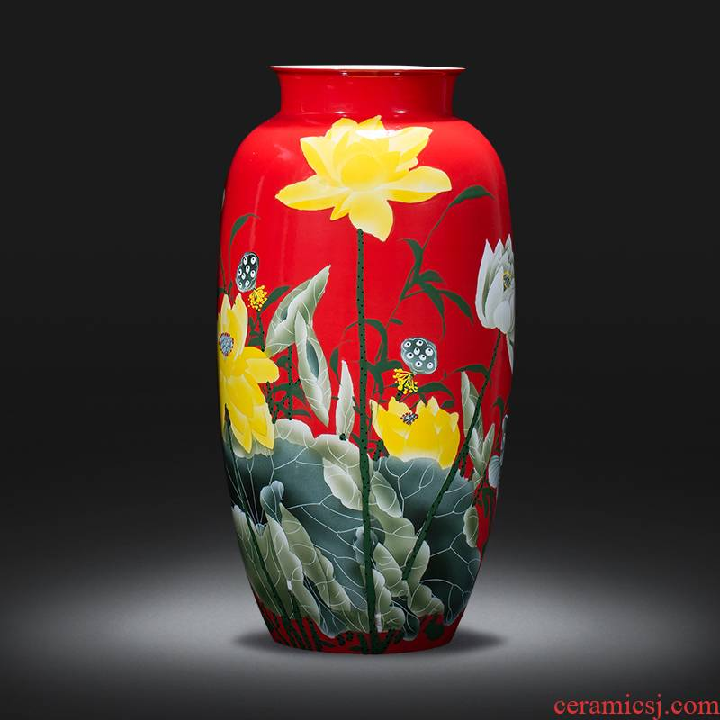 Jingdezhen ceramics of large vases, famous master hand made lotus sitting room adornment is placed large Chinese style