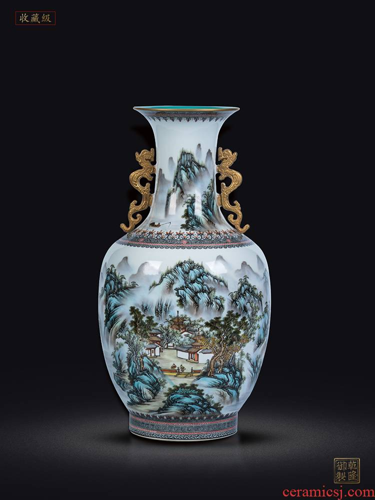 Jingdezhen ceramics vase imitation qianlong maintain pastel landscape double ears of Chinese style classical sitting room adornment is placed