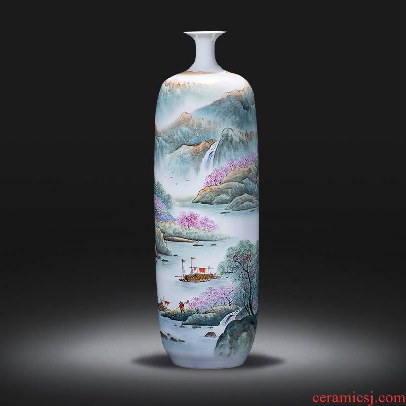 Jingdezhen ceramics hand - made pastel scenery gall bladder landing big vase study adornment furnishing articles large living room