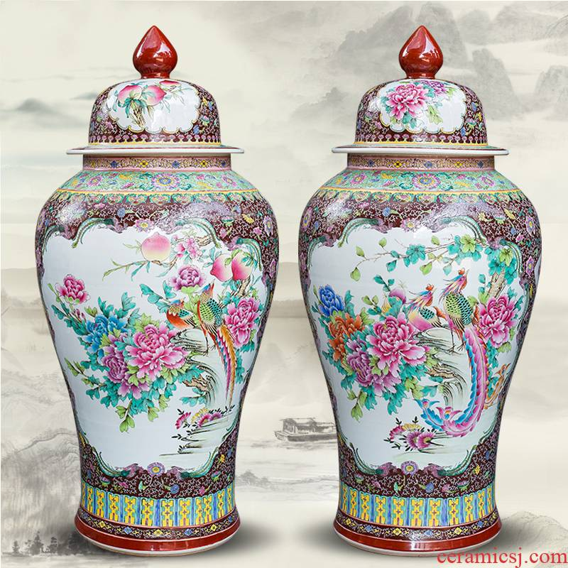 Jingdezhen ceramics hand - made general powder enamel jar of icing on the cake big vase furnishing articles furnishing articles Chinese style living room floor