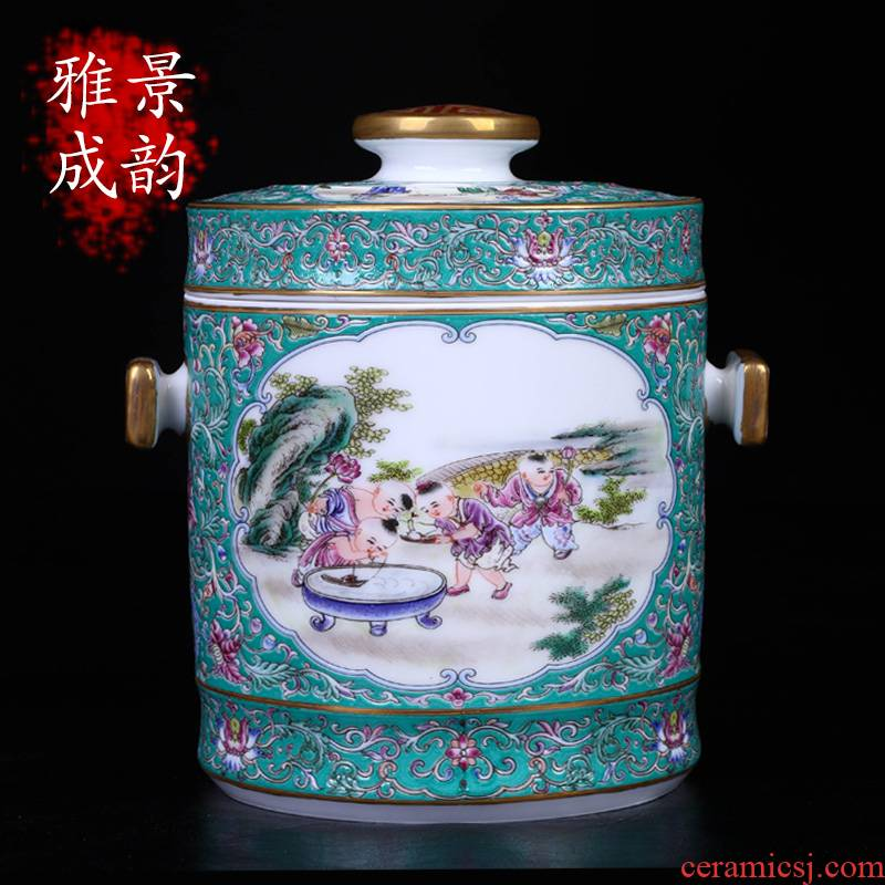 Jingdezhen ceramic tea POTS household seal tank storage tank of a large new Chinese style adornment furnishing articles