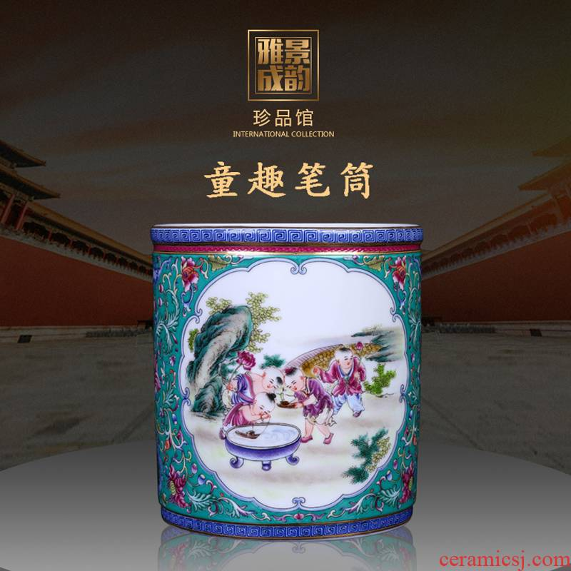 Restoring ancient ways of jingdezhen ceramic powder wariety pen container office furnishing articles home decorative arts and crafts opening gifts head