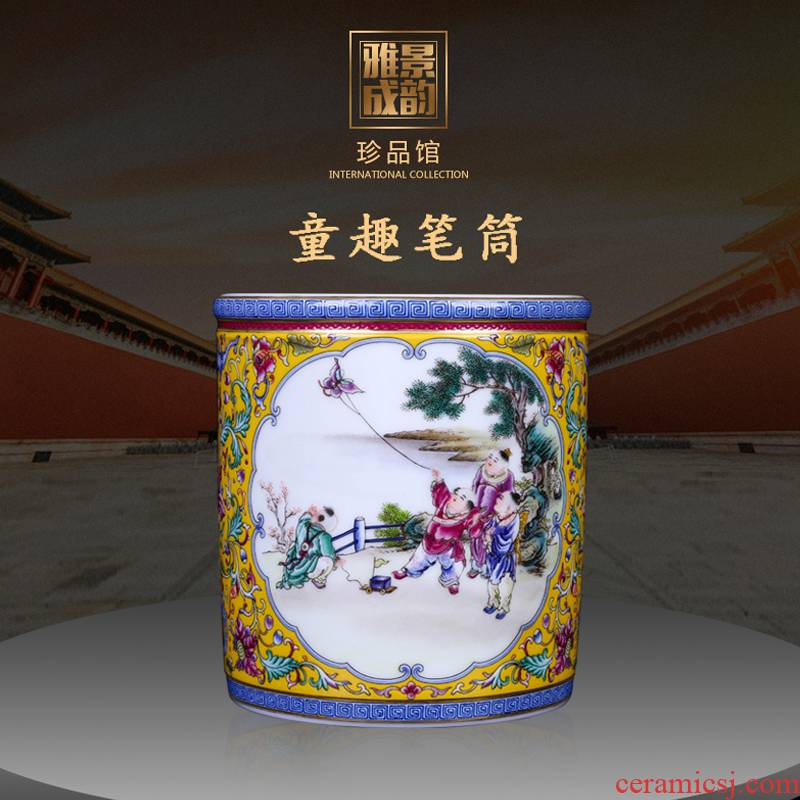 Jingdezhen porcelain brush pot restoring ancient ways is head of the 'day gift pen container to send the the teacher a housewarming gift the opened the gift shop