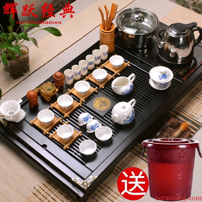 Hui, make tea blue - and - white porcelain tea sets ipads China kung fu tea set/induction cooker real wood buford tea tray