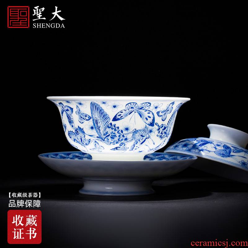 St large ceramic three tureen teacups hand - made the butterfly figure tureen all hand jingdezhen blue and white porcelain is kung fu tea set