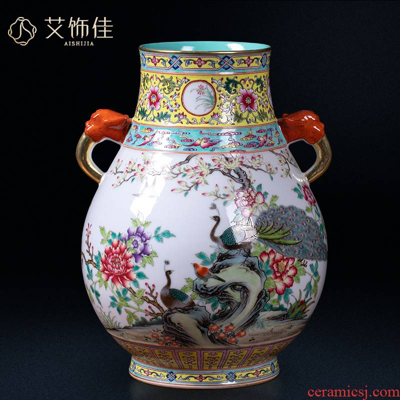 Jingdezhen ceramic ears colored enamel archaize f cylinder vase household classic living room TV ark adornment furnishing articles