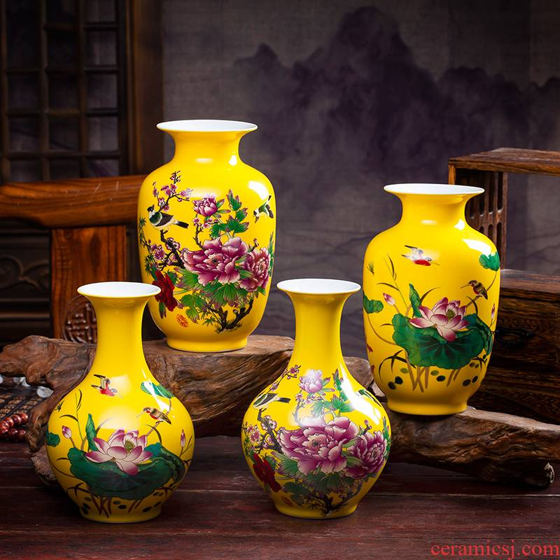 Jingdezhen ceramics furnishing articles antique imitation the qing yongzheng hand - made pastel yellow glaze floret bottle of home sitting room adornment