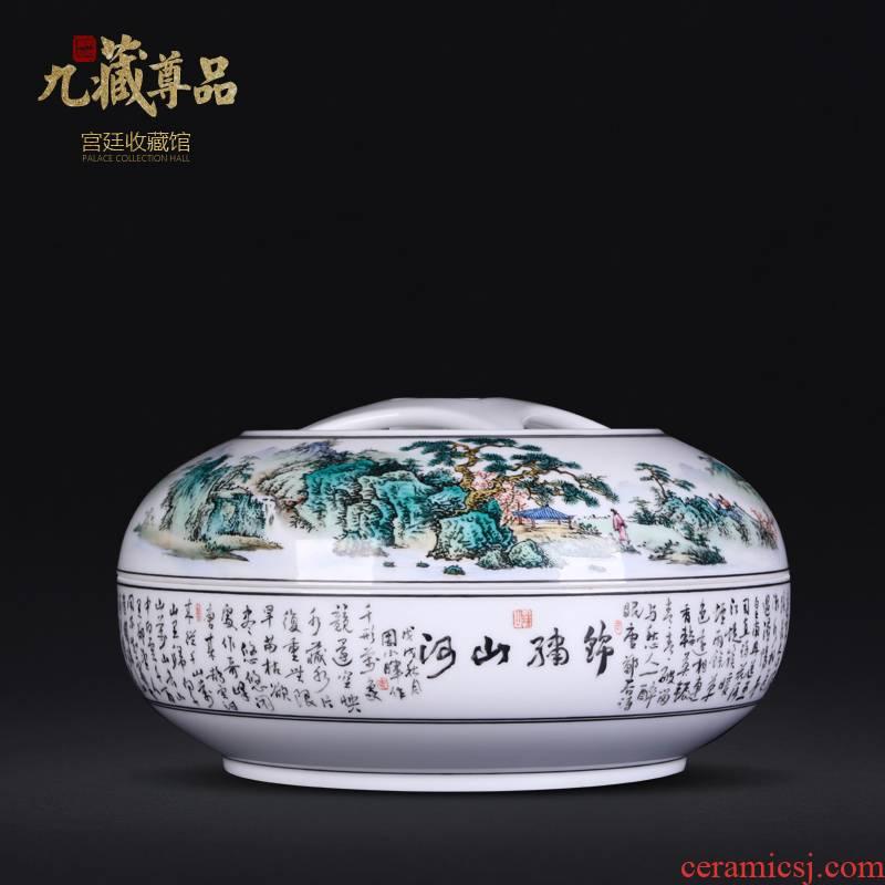 Jingdezhen ceramics Zhou Xiaohui hand - made pastel scenery storage tank cover pot sitting room adornment furnishing articles study Chinese