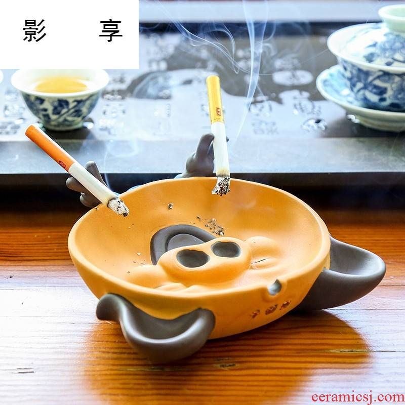 """Shadow thousand """"enjoy the tea taking spare parts change see colour sand ceramic ashtray home hotel office furnishing articles tea play pet CH"""