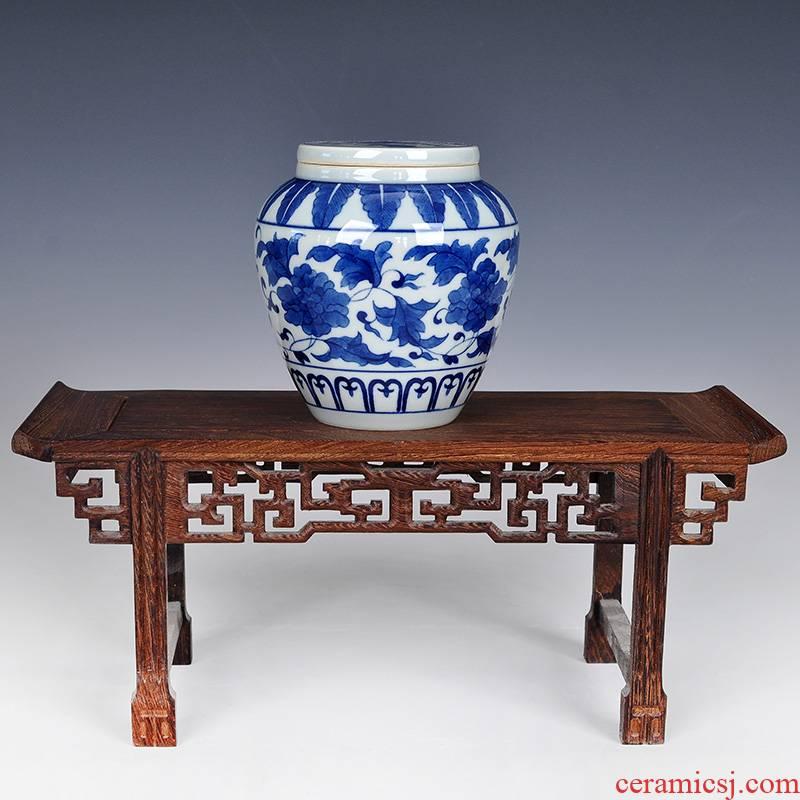 Antique hand - made ceramic of blue and white porcelain tea pot small half jins to save POTS put tea pu 'er tea storage containers