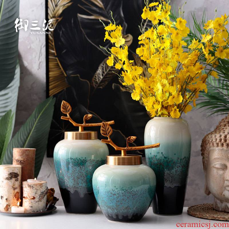 Dried flower adornment European ceramic glaze vase desktop household I and contracted sitting room of the new Chinese style flower arrangement furnishing articles