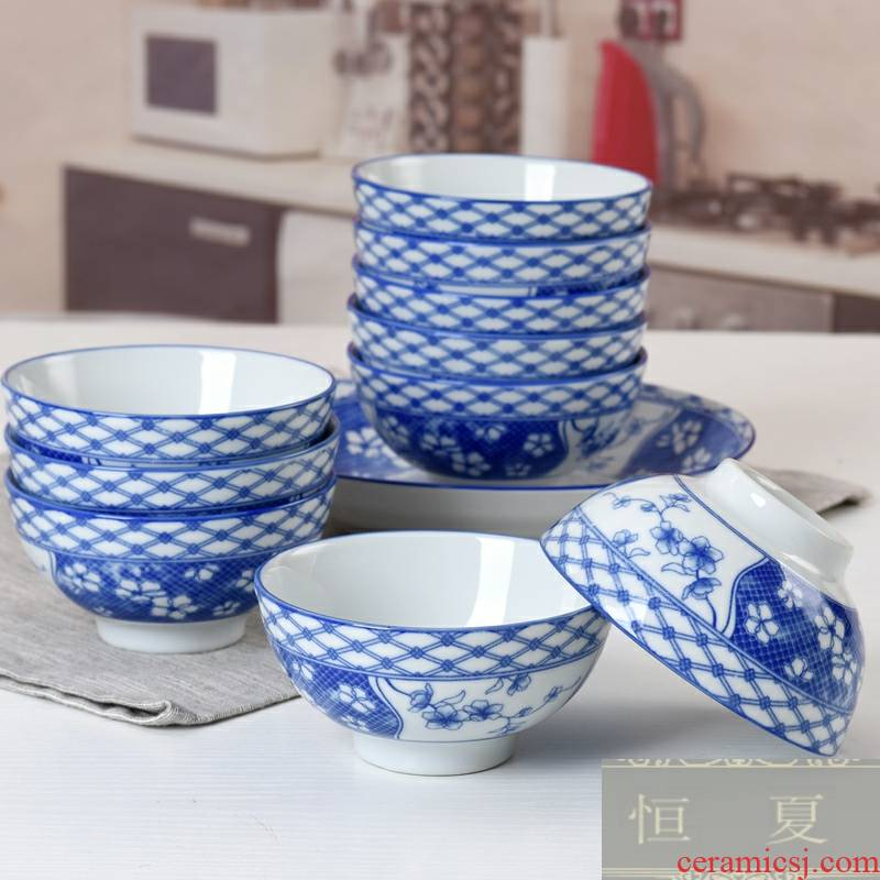 Ceramic bowl five inches household jobs more suits for Chinese who hot under the glaze color creative small blue and white porcelain bowl