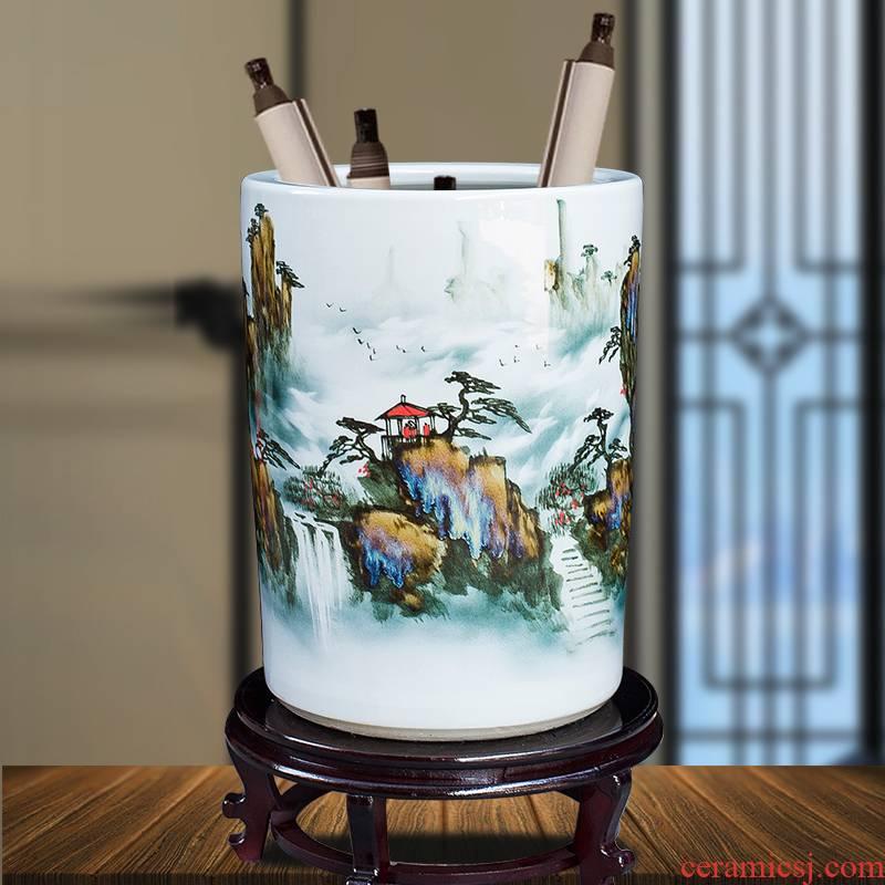 Jingdezhen ceramics hand - made quiver big vase furnishing articles sitting room floor decoration painting scroll cylinder decoration