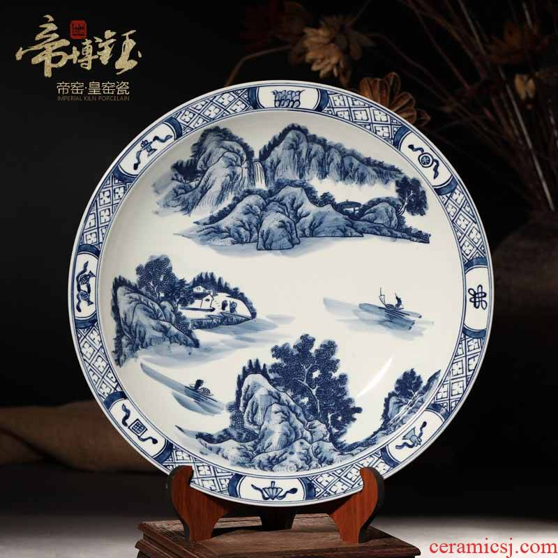 Jingdezhen ceramic decoration plate by blue and white landscape hang dish plate antique hand - made decorative household crafts are sitting room