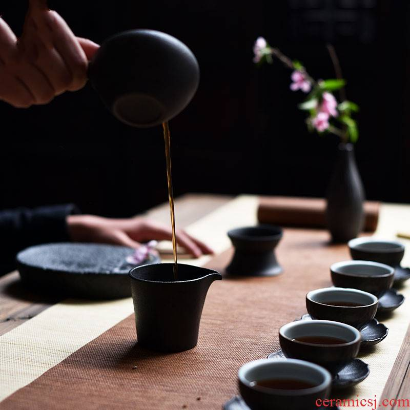 Poly real scene contracted Japanese manual pot of kung fu tea set household coarse TaoGan hollow out small tea tray ceramic restoring ancient ways