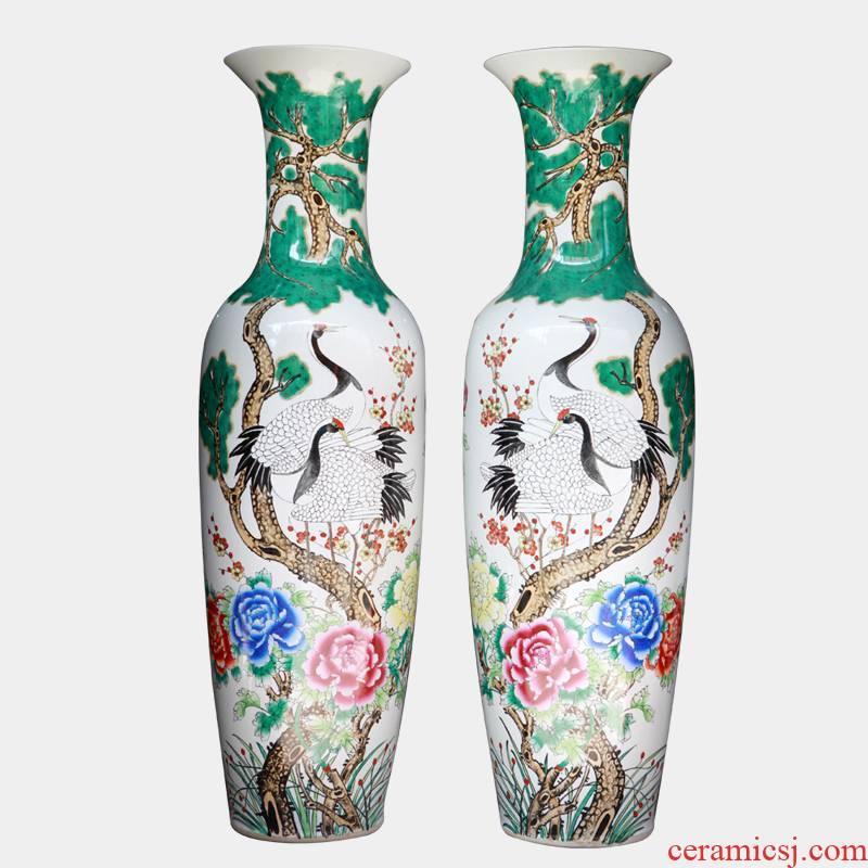143 JingQin jingdezhen ceramic pine crane live archaize floor big vase decoration as furnishing articles
