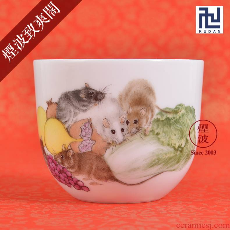 Jingdezhen nine calcinations experienced painters hand - made pastel rat year an abundant cabbage turnip tea cups to recognize the sample tea cup