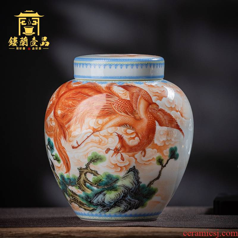 Jingdezhen ceramic all hand pastel phoenix act the role ofing is tasted furnishing articles to form large sealing caddy fixings collection box