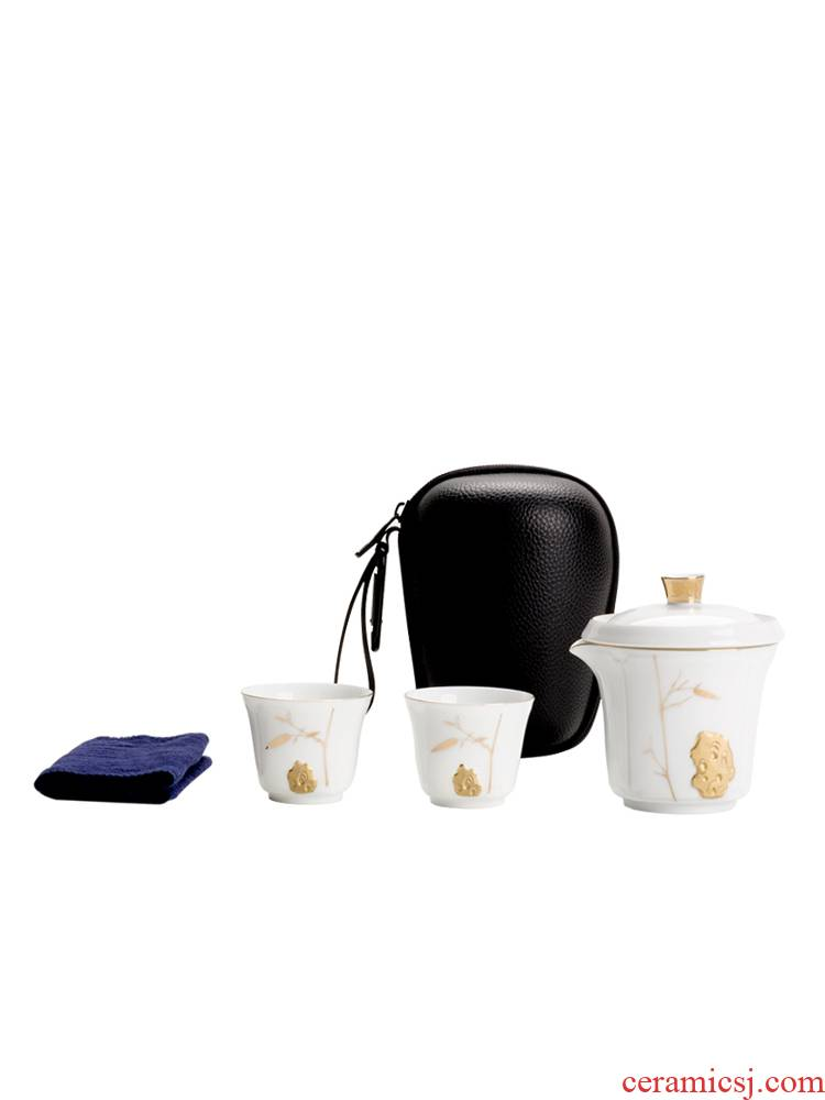 Two ceramic pot 2 crack portable receive bag kung fu tea set contracted and easy to make tea cup