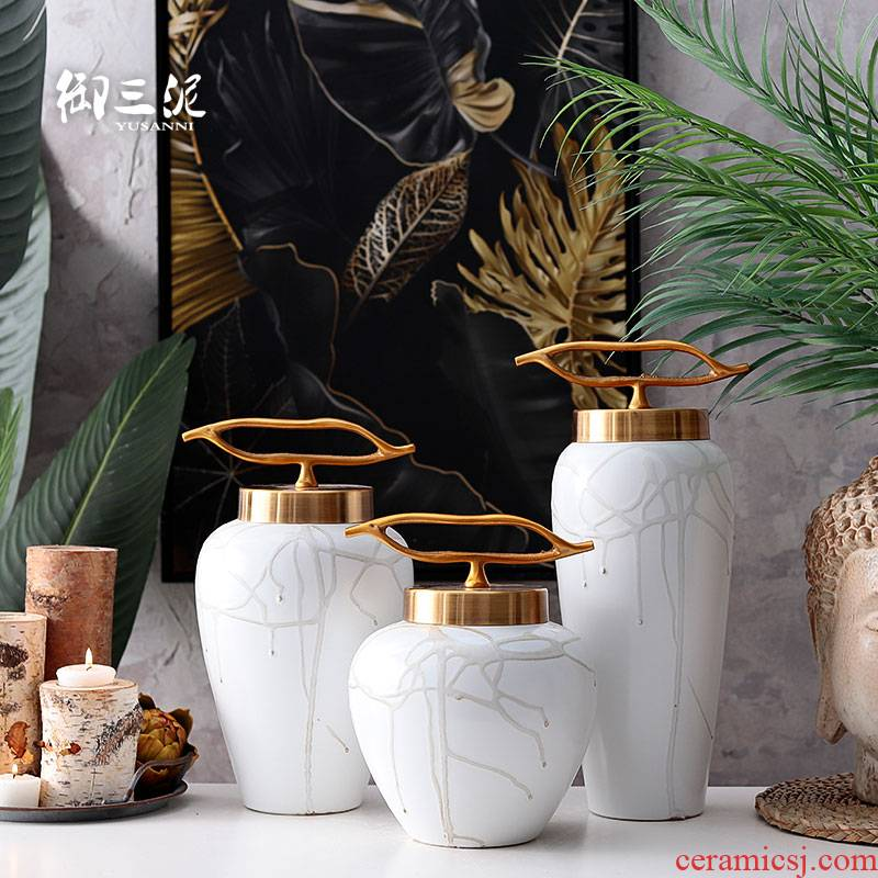 Ceramic vases, flower arrangement sitting room place American I and contracted Nordic household metal cover jewelry flower implement ornament