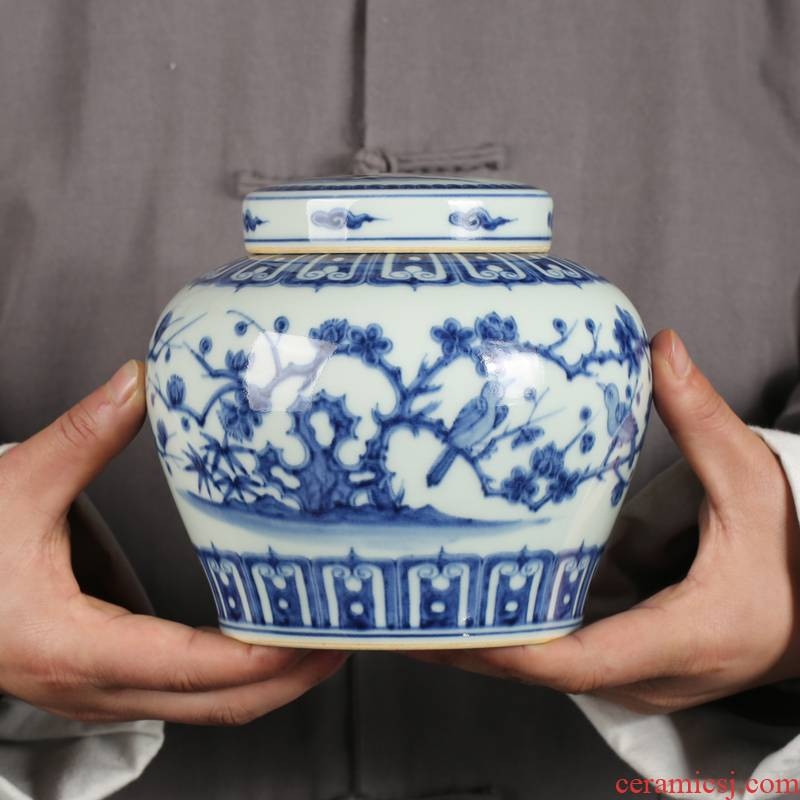 Jingdezhen ceramic antique maintain blue and white porcelain painting of flowers and days word can save POTS furnishing articles home tea POTS
