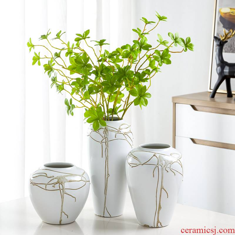 Jingdezhen ceramic vase furnishing articles Nordic dried flowers sitting room adornment flowers flower arrangement water raise creative simple decoration