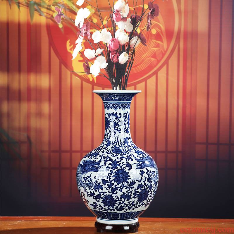 """Dragon"" blue and white porcelain of jingdezhen ceramics, vases, flower arranging furnishing articles archaize home little sitting room adornment porcelain"