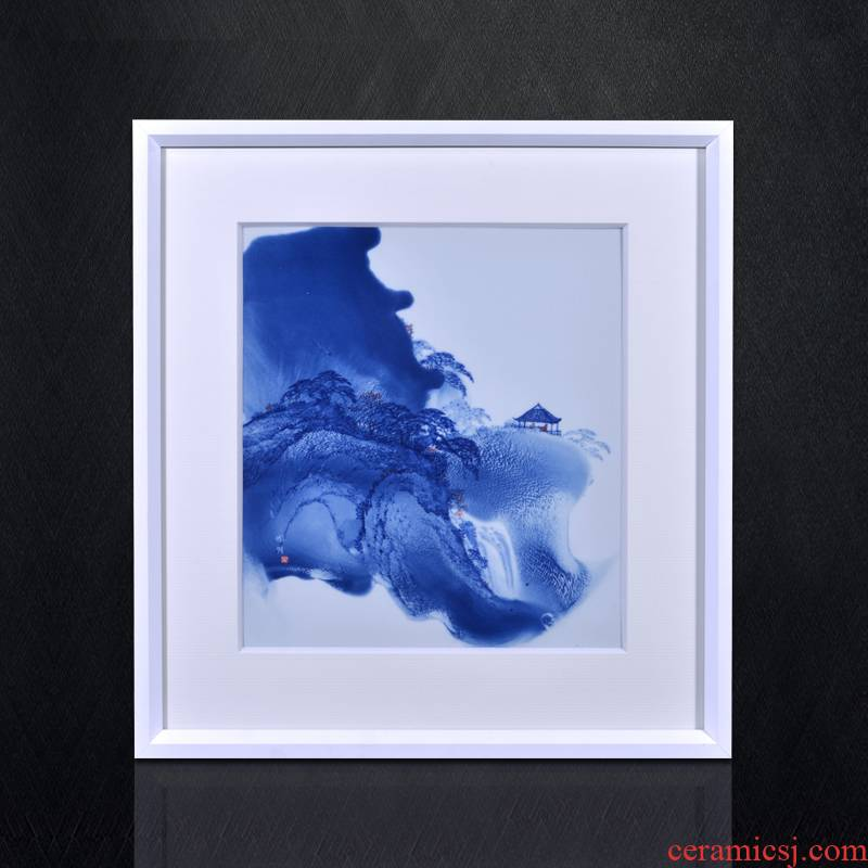 Jingdezhen blue and white porcelain splash ink landscape porcelain plate painting murals sitting room porch study Chinese decorative furnishing articles that hang a picture