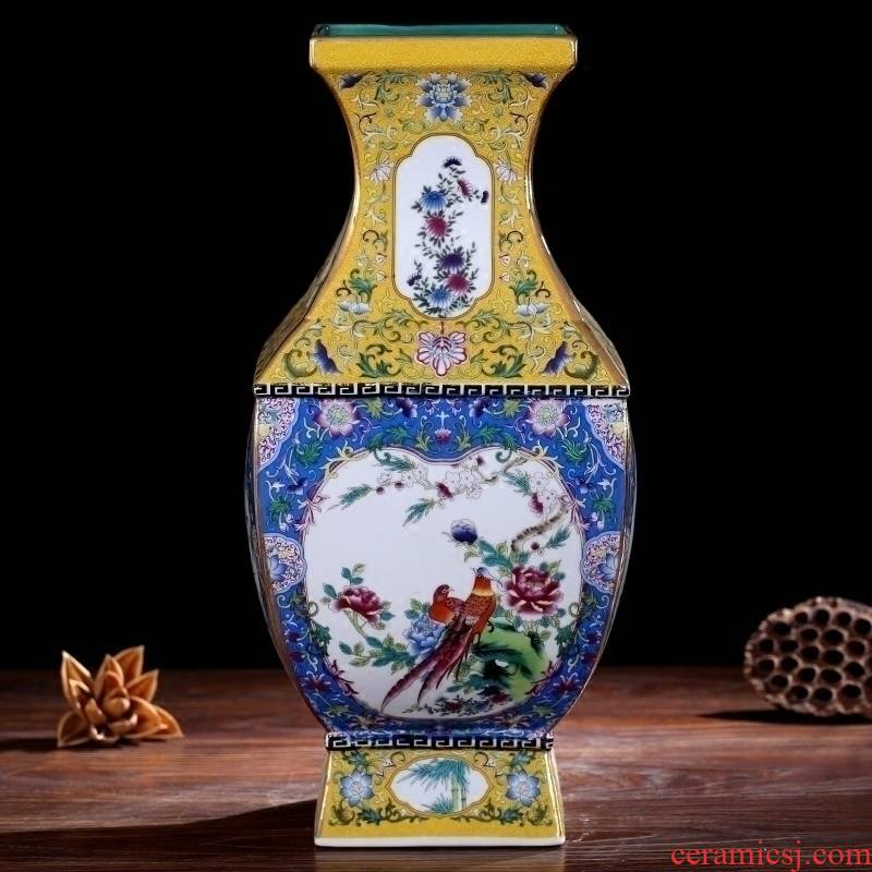 Jingdezhen enamel made pottery porcelain vase home sitting room mesa four bottles of imitation system of qianlong classic collection furnishing articles