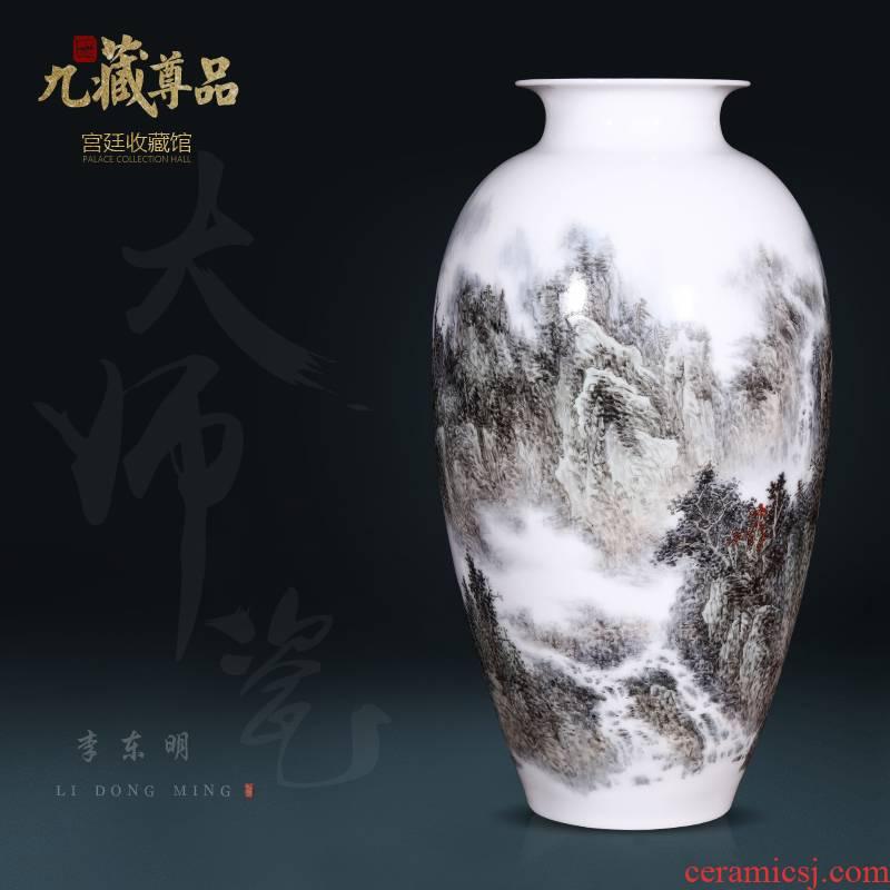 Jingdezhen ceramics dong - Ming li hand - made pastel landscape vase Chinese style living room TV cabinet decorative furnishing articles arranging flowers
